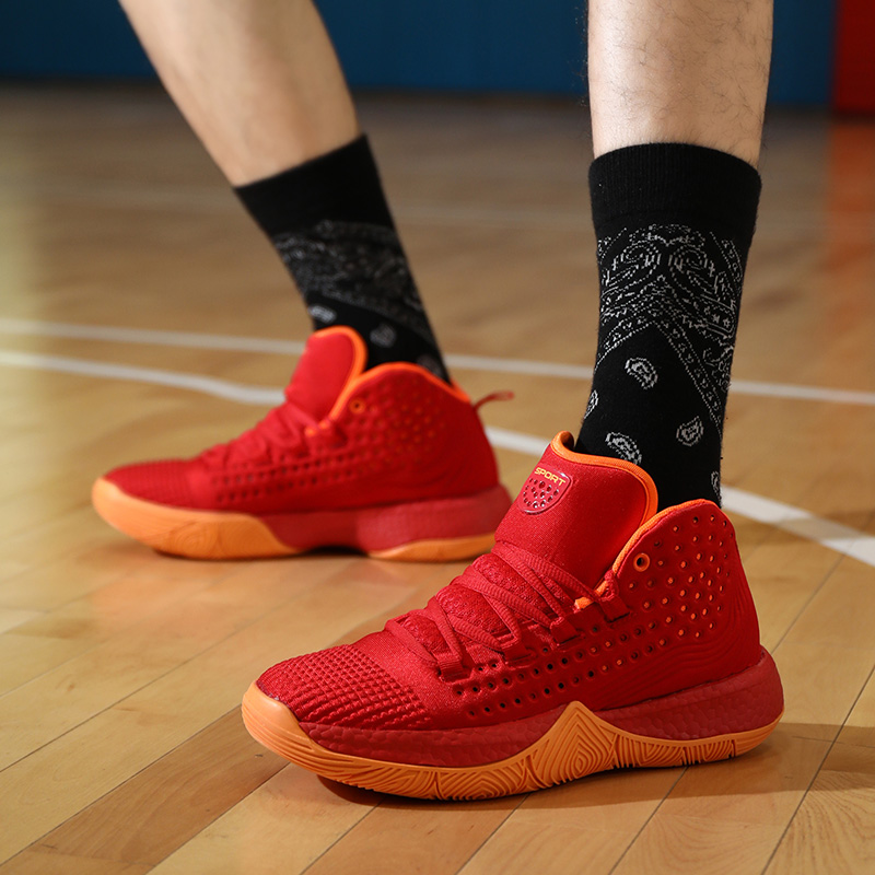 2021 autumn basketball shoes mens high help mens wear resistant shock absorption antiskid boots breathable and light student sports running shoes