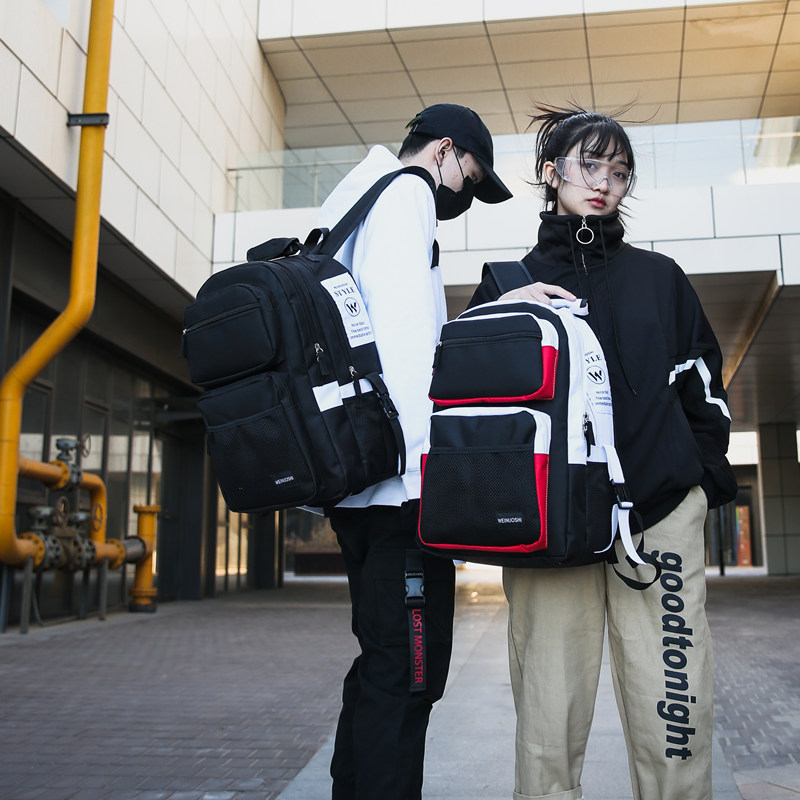 Schoolbag male Korean fashion trend high school students backpack ins chaoku large capacity Junior High School Student Backpack female