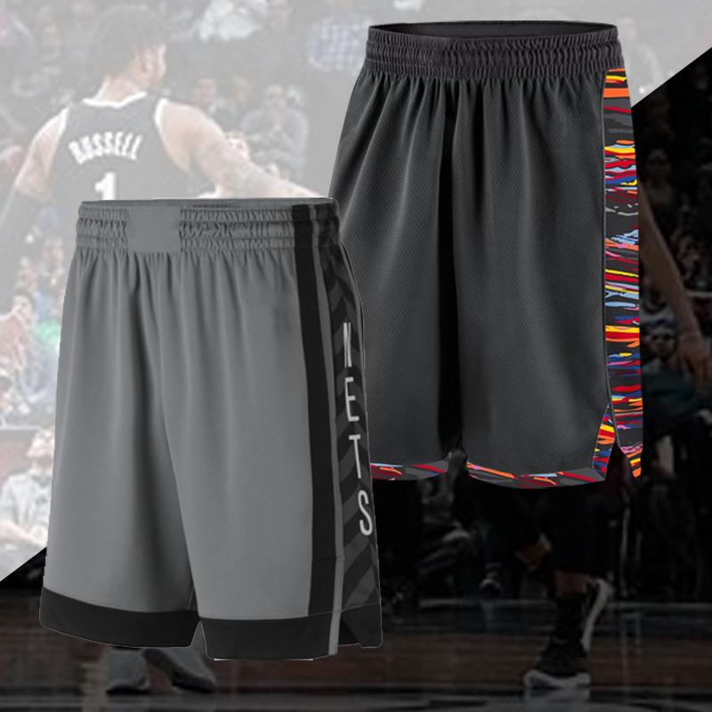定制2019布鲁克林丁翁迪拉塞尔白色城市篮球裤运动黑色短裤宽松男