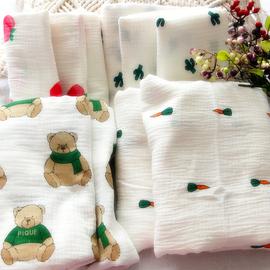 外贸水洗绉布纯棉纱布盖毯包被盖巾薄款无夹棉被子110*15/150*190