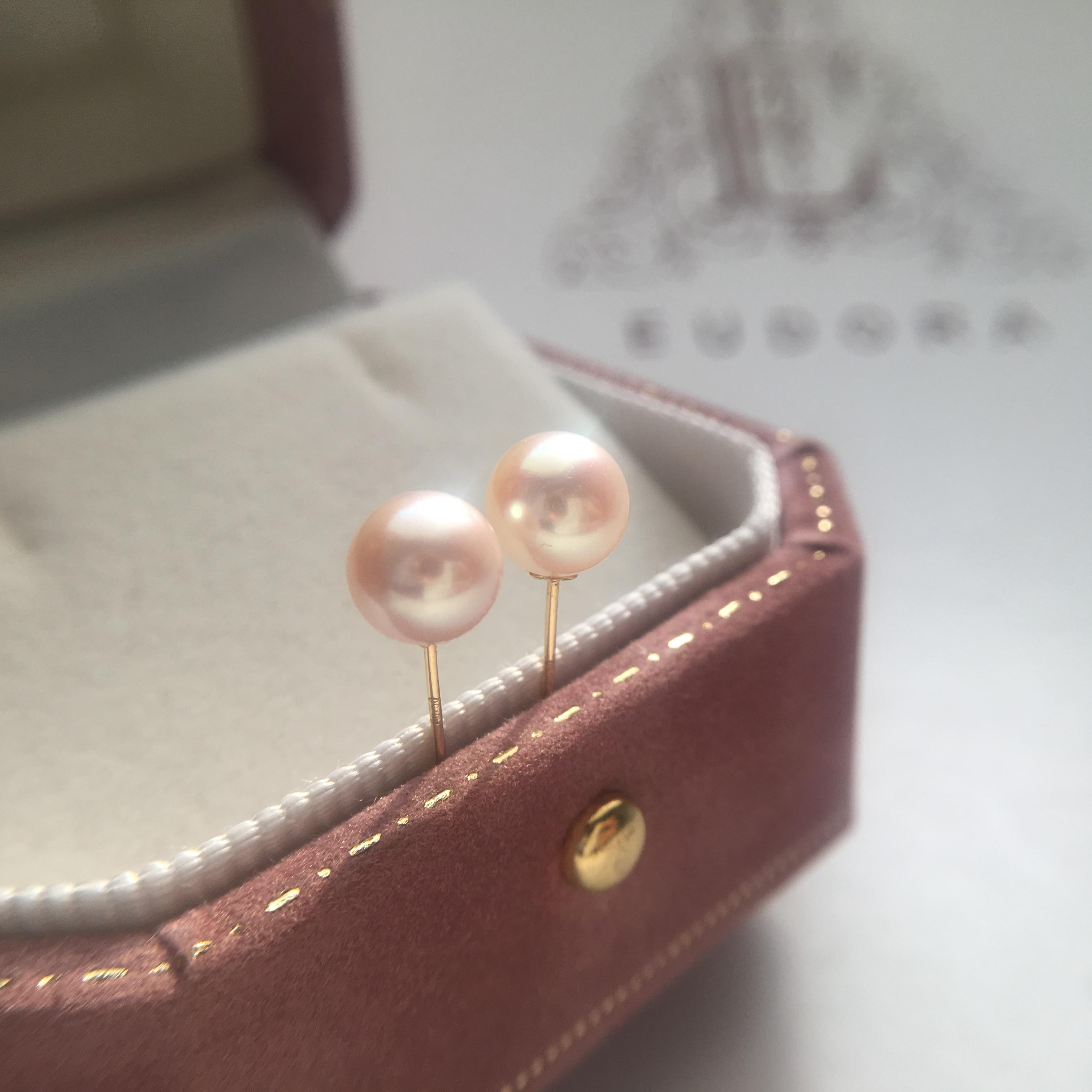 尤朵拉出口级精品正圆强光小灯泡淡水珍珠耳钉  18K金针耳饰珠宝