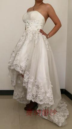 塞纳前短后长公主婚纱