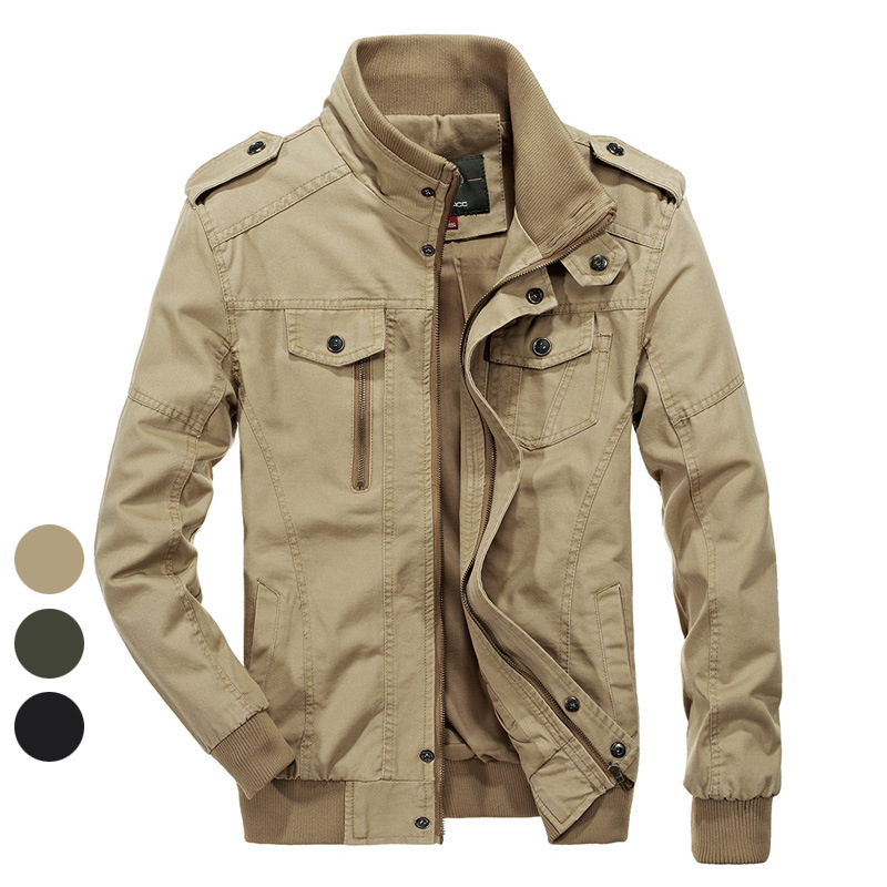 Jeep shield jacket mens 2020 spring and autumn jacket mens washed pure cotton jacket military industrial Jacket Large