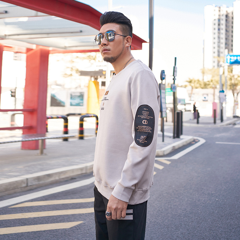 Trendy fashion large mens clothes 2021 spring new trend embroidered pasted fabric knitwear loose and fat mens sweater