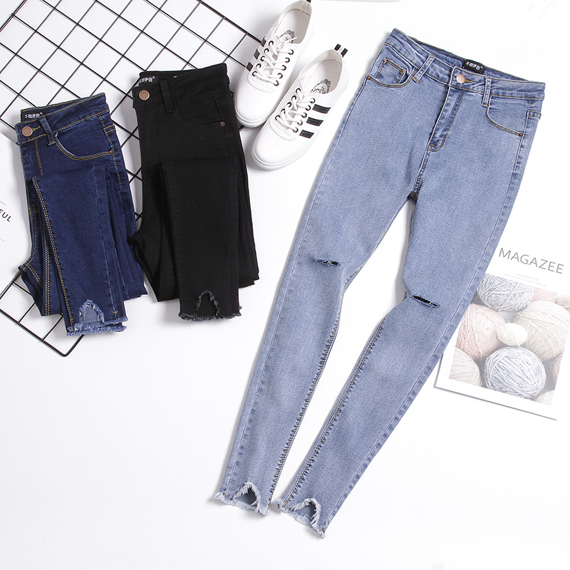 Net red black jeans womens high waisted and tight new hole Hong Kong style students small foot chic super fire pants