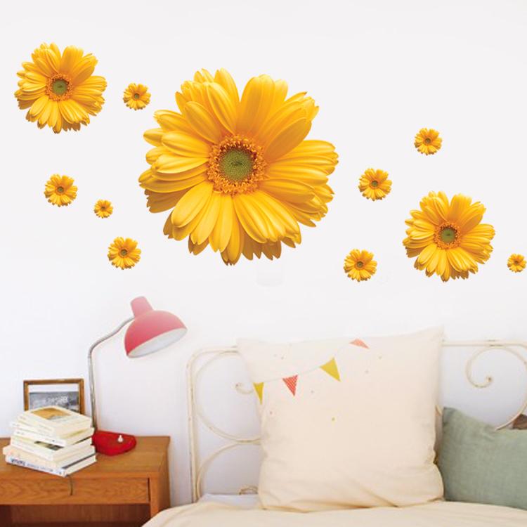 三代可移除 黄色菊花 客厅卧室沙发背景墙电视家装饰墙贴纸 墙贴