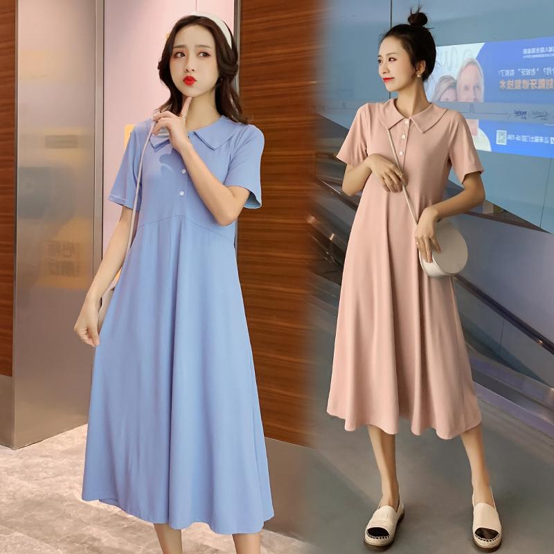 夏装孕妇装韩版怀孕期宽松大码长裙时尚外出哺乳裙春季孕妇连衣裙图片