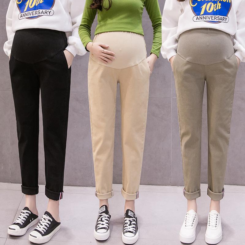 (用5元券)孕妇秋季外穿托腹裤休闲阔腿运动裤