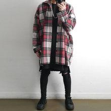 宽松嘻哈长款 韩版 外穿潮学生 古潇日系复古毛呢格子衬衫 外套男长袖