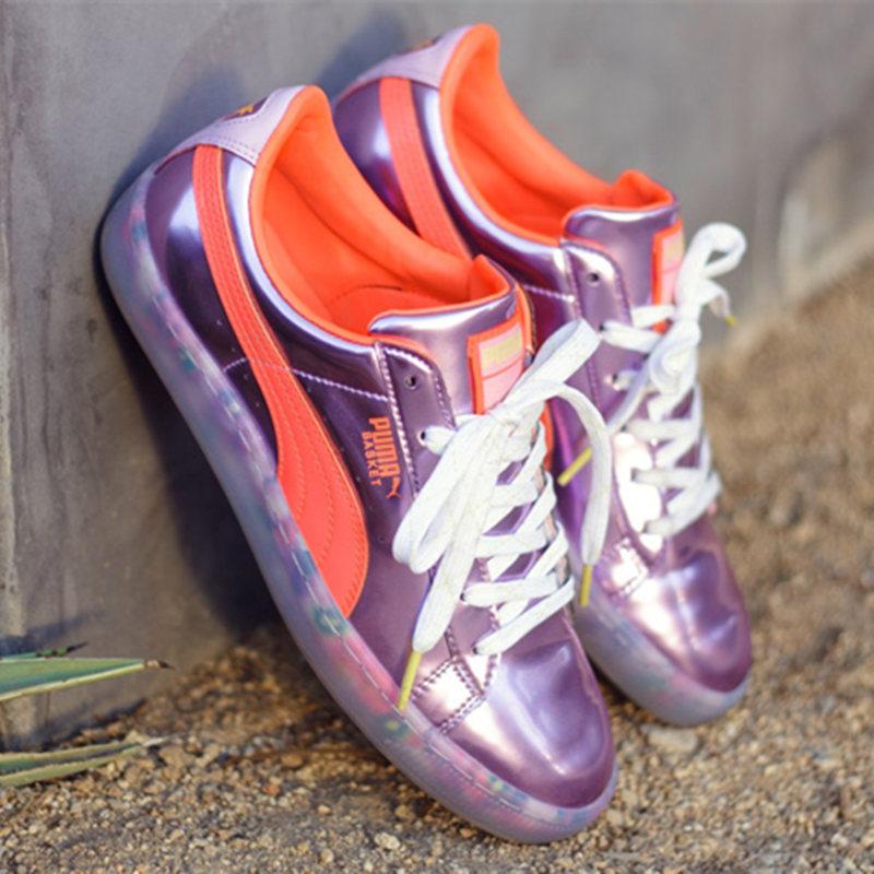 ��角�F�名彪�R女鞋 PUMA x SOPHIA 糖果撞色水晶底清新板鞋代�