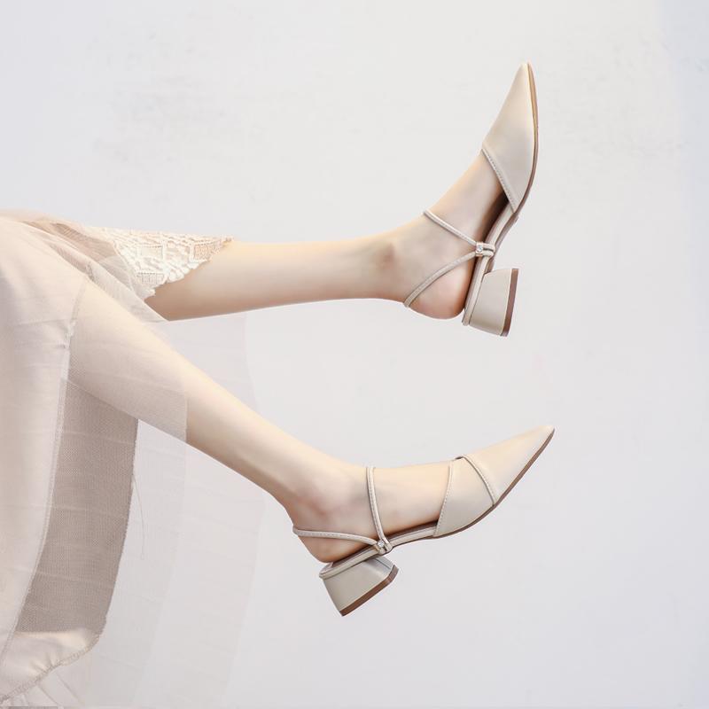 11月30日最新优惠包头凉鞋女2019新款夏季百搭尖头温柔仙女风配裙中跟高跟粗跟单鞋