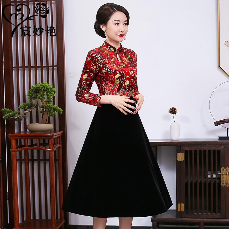 Noble lady middle-aged and elderly wedding mother knee length retro cheongsam big skirt dress