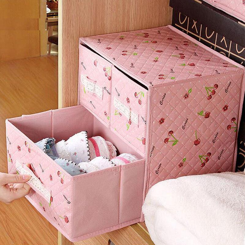 创意抽屉式内衣收纳盒双层三抽文胸袜子整理盒两层内裤收纳箱包邮