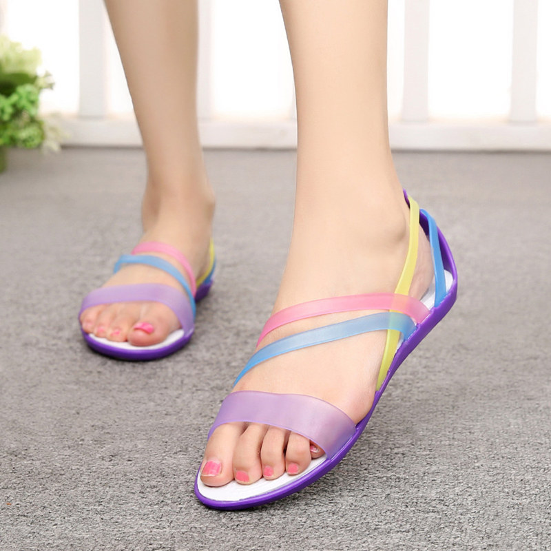 Summer fashion flat heel lady sandals beach shoes ribbon plastic hole shoes colorful jelly fish mouth sandals slippers