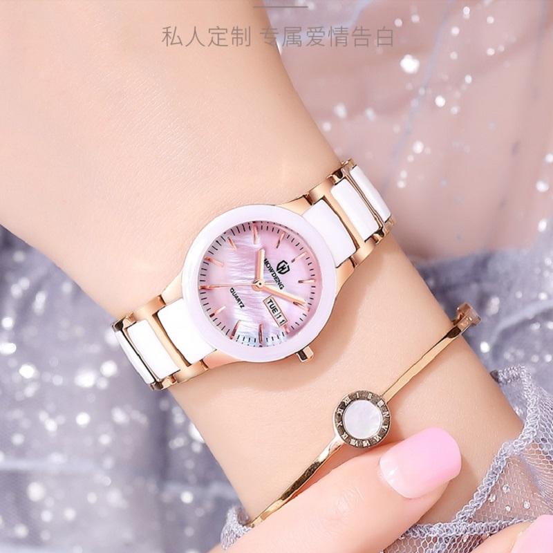 豪登新款女表陶瓷手表香港精品防水石英腕表学生潮流镶钻女款刻字