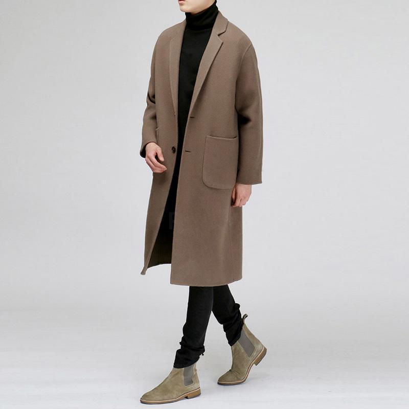2018冬季新款韩版男士双面羊绒大衣呢子男中长款毛呢大衣呢外套男