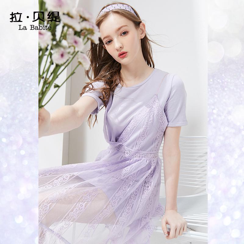 限4000张券蕾丝连衣裙两件套装女2019夏季新款流行吊带智熏裙法式桔梗裙显瘦