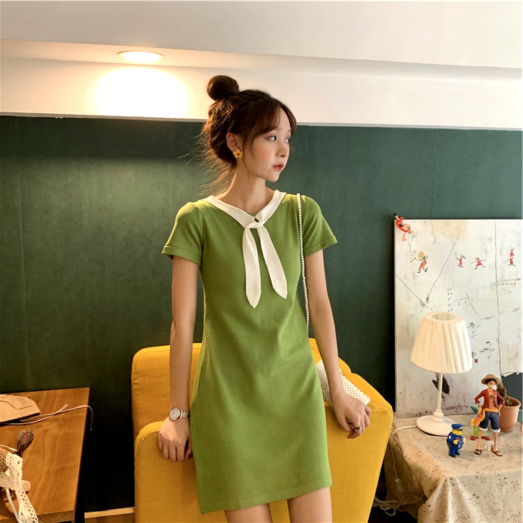 12月11日最新优惠法国式小众桔梗裙子2019新款夏学生上衣牛油果绿色t恤连衣裙仙女