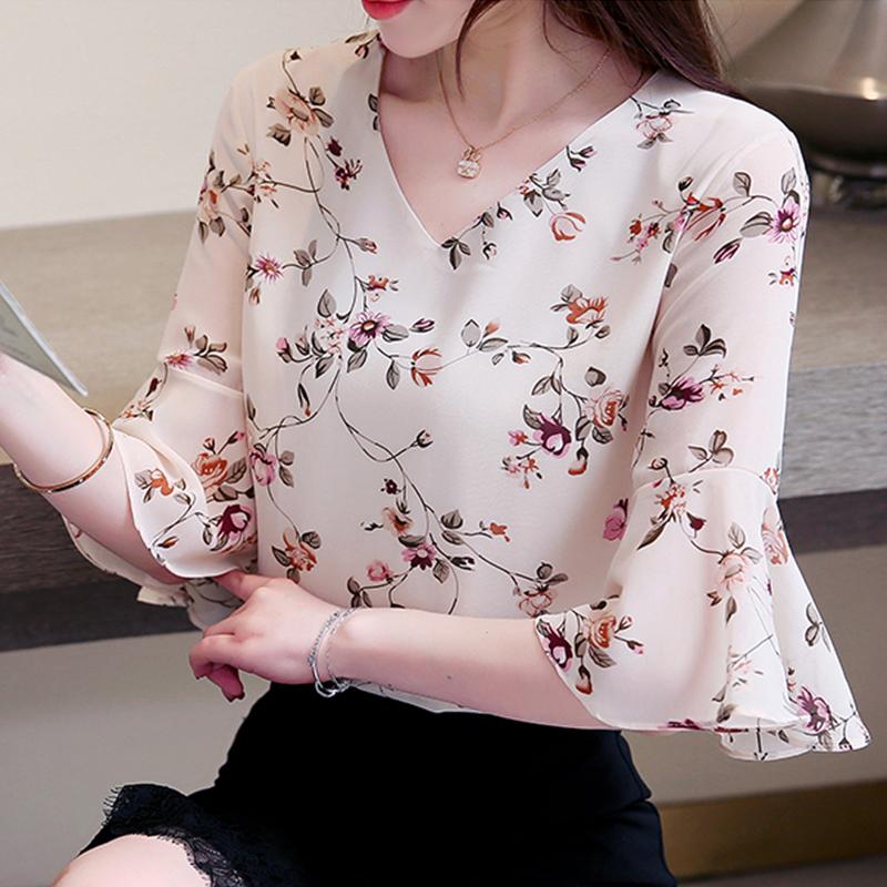 雪纺衫女短袖2020夏装新款碎花遮肚子很仙的t恤小衫洋气显瘦上衣