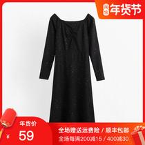 【春装直播上新】春季大码女装休闲显瘦裙子领口褶皱连衣裙潮