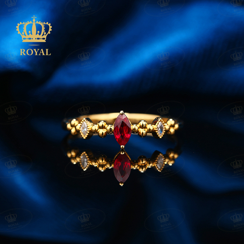 Royal jewelry small light luxury color treasure series ruby 0.17ct accessory diamond 0.09ct18k gold inlaid ring