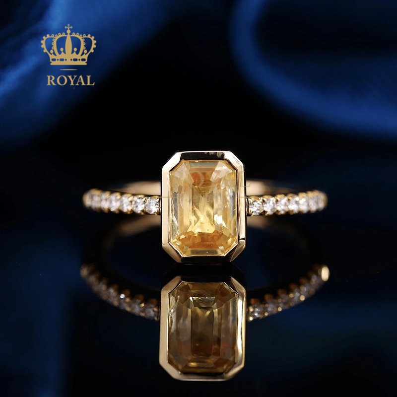 Royal jewelry 1.51ct natural non burnt Yellow Sapphire Ring Diamond 18K gold inlaid gift