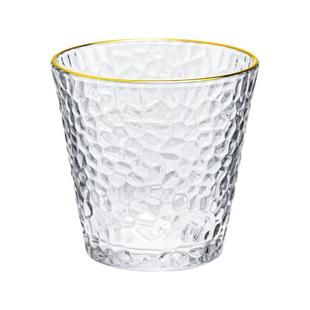 日式錘紋金邊玻璃杯家用喝水杯女ins風簡約果汁杯咖啡杯奶茶杯子