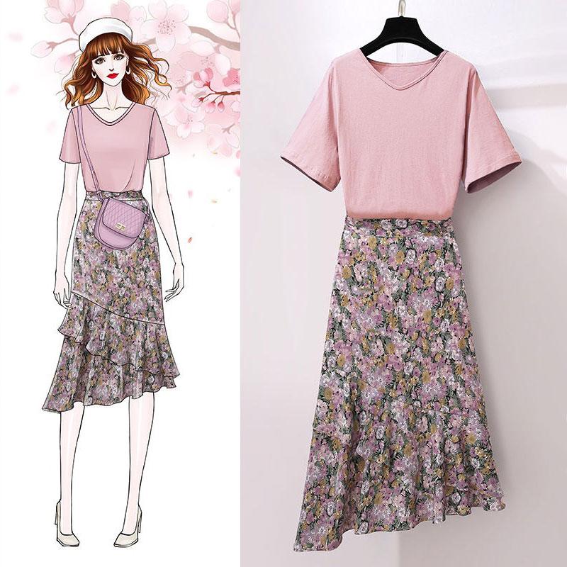 套装/单件纯棉紫t恤连衣裙两件套女夏2020新款显瘦小雏菊碎花裙子