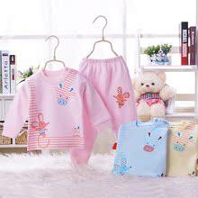 菲比兔2017春装新款宝宝纯棉内衣圆领套装肩扣婴儿全棉打底两件套