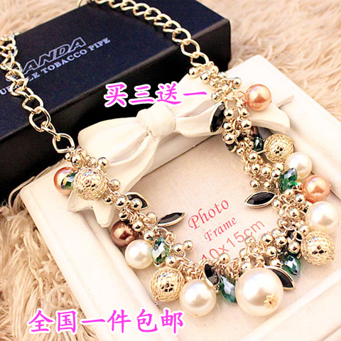 High grade luxury color gem pearl necklace womens clavicle chain popular 2020 new net red simple and generous