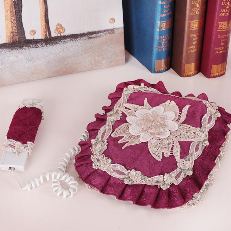 欧式蕾丝装饰座机电话套防尘罩布艺方形盖巾电话保护套电话机套贴 Изображение 1