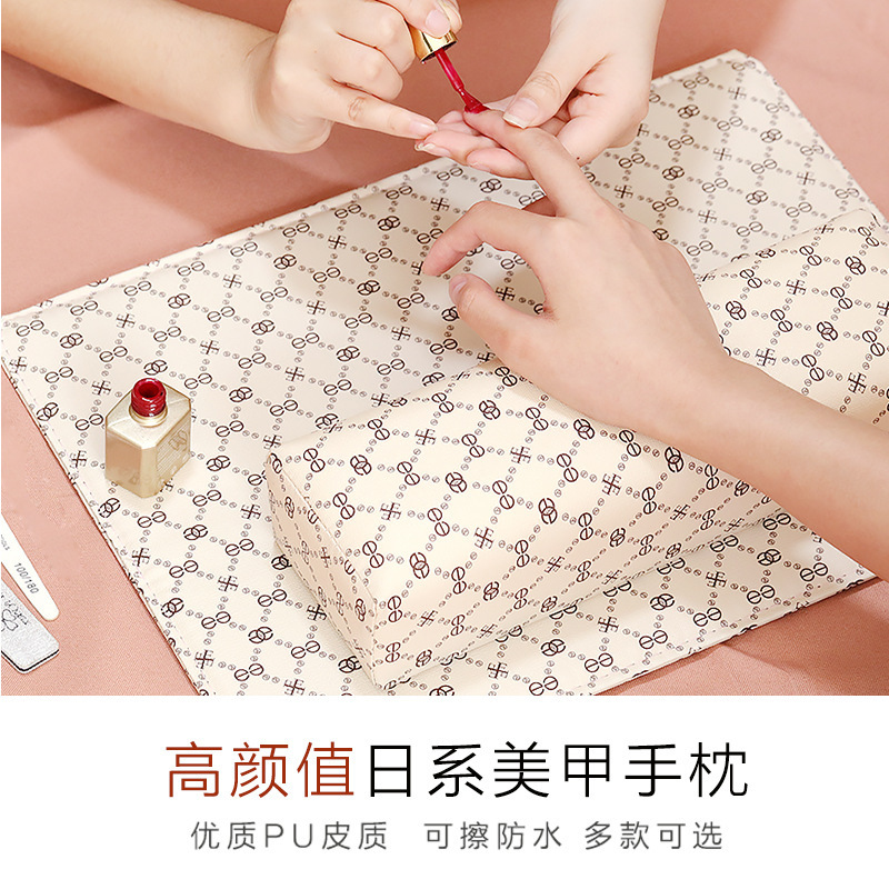 Manicure leather hand pillow leather pillow hand cushion pillow suit can be folded in size, sweat resistant, dirt resistant, corrosion resistant and easy to clean