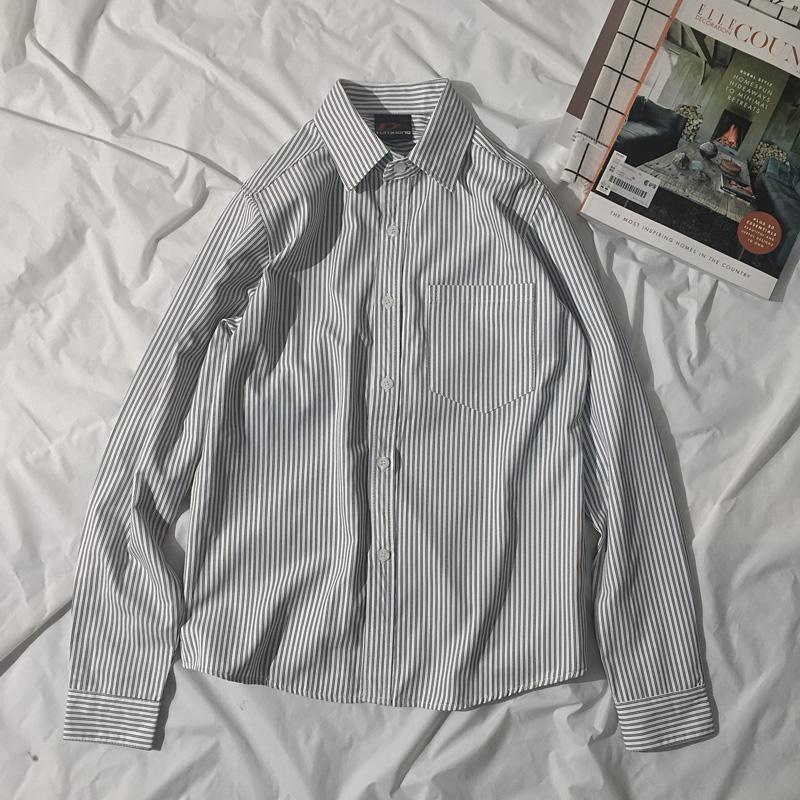 薄款条纹长袖衬衫男韩版潮宽松衬衣夏季防晒衣服轻薄透气秋天外套