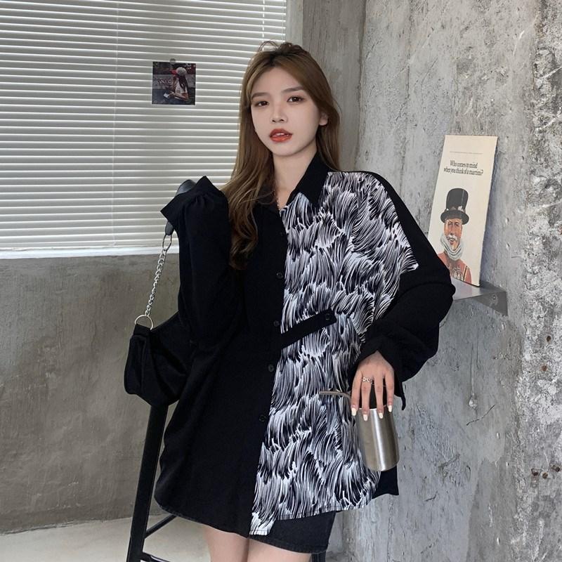 Early autumn top 2020 new Korean design small loose shirt womens color contrast medium long sleeve shirt