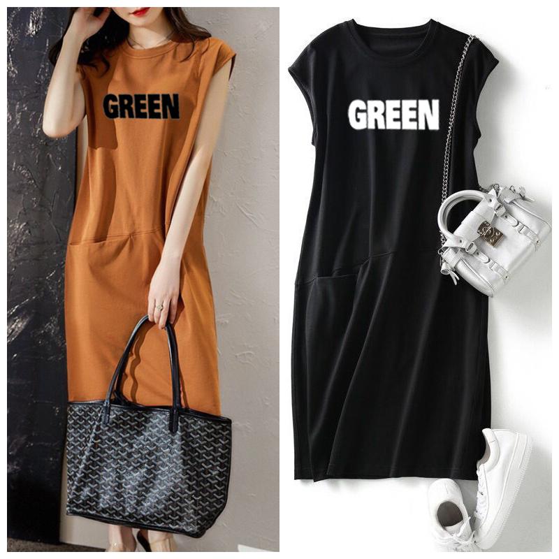 夏季新款短袖女装流行宽松显瘦字母无袖T恤连衣裙中长口袋仙女裙