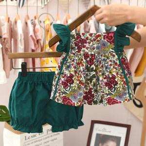 女童套装夏装2021新款韩版网红潮超洋气时髦小童潮衣女宝宝两件套