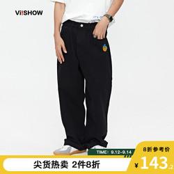 VIISHOW牛仔裤男潮牌复古纯棉黑色宽松长裤子男士休闲阔腿直筒裤