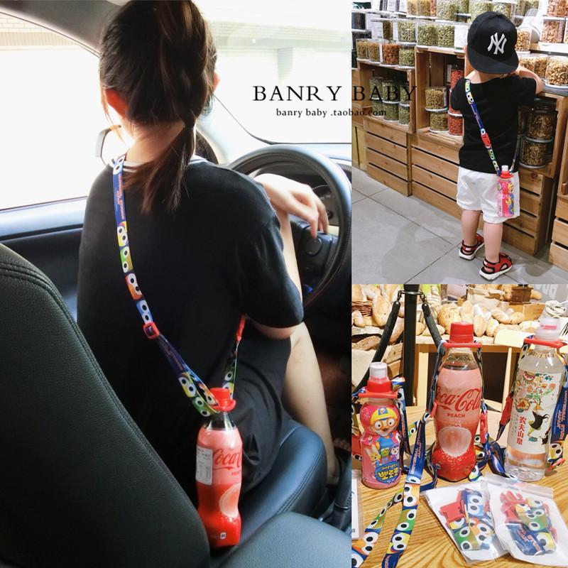 日本环球影城芝麻街饮料瓶便携背带儿童水瓶扣旅游卡通斜挎带大人