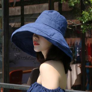 帽子女韩版潮百搭磨砂遮阳帽批发防晒紫外线大沿遮脸渔夫帽盆帽女