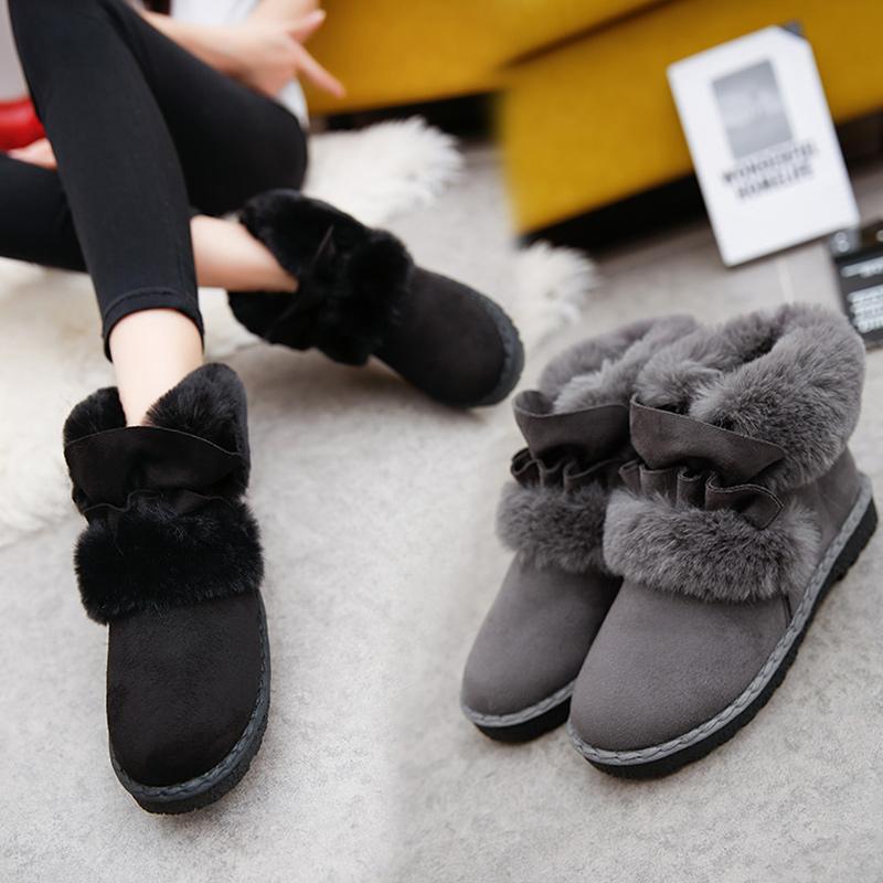雪地靴女短筒韩版加绒保暖棉鞋学生平底秋冬季加厚磨砂可爱短靴子