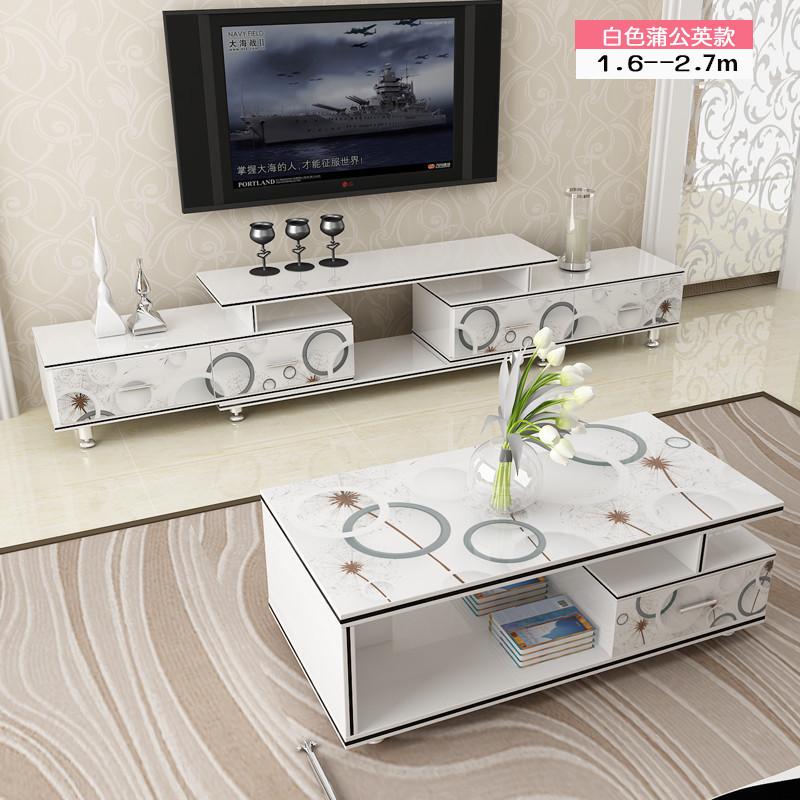 Гостиная современный простой закалённое стекло телевизионный шкаф кофейный столик сочетание небольшой квартира телевизор кабинет наряд протяжение шкафы