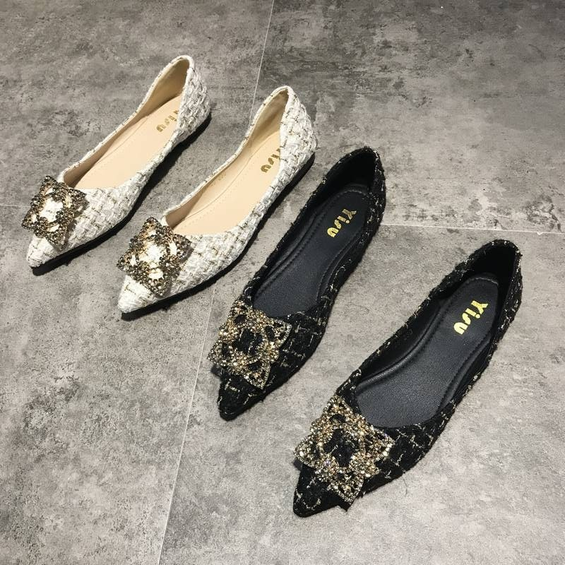 Small fragrance single shoes womens new autumn 2020 womens shoes pointed flat shoes womens versatile shallow mouth flat heel ladyback shoes boat shoes