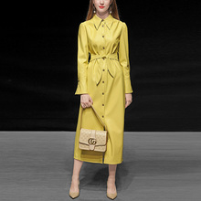 Autumn and winter women's wear 2019 new yellow slim fit medium and long leather windbreaker waistband show thin PU leather coat coat