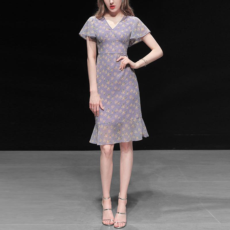 夏装2020新款女装气质性感修身雪纺裙子收腰显瘦中长款碎花连衣裙图片