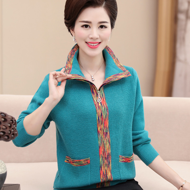 2020 new spring and autumn mothers cardigan womens wear middle-aged and elderly loose oversized Lapel sweater coat thick fashion