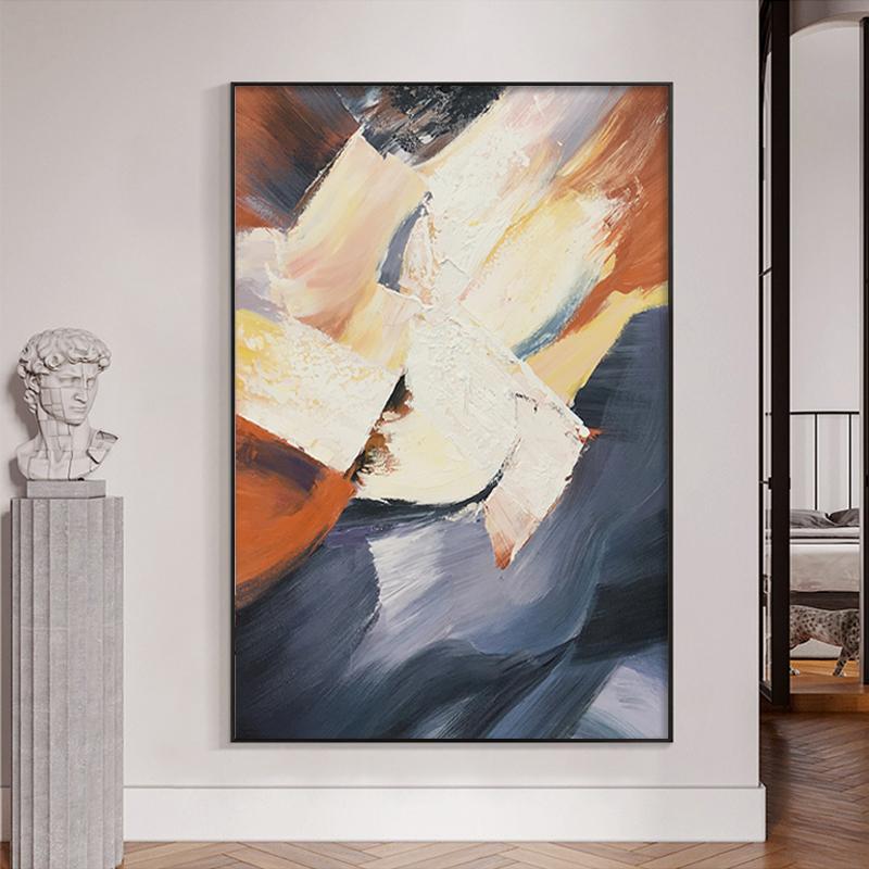 手繪抽象油畫輕奢肌理走廊客廳沙發背景墻掛畫現代簡約玄關裝飾畫