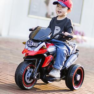 儿童电动摩托车三轮车充电网红车男孩童车小孩带遥控玩具可坐大人