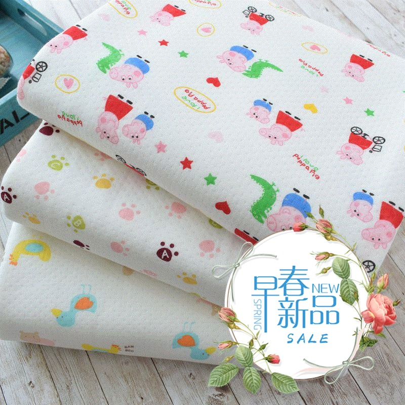 针织夹棉三层保暖面料纯棉空气层布料内衣外套宝宝抱被盖毯布料