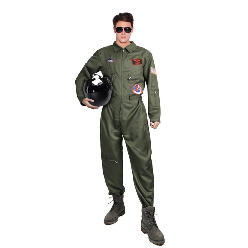 万圣节角色扮演壮志凌云飞行员聚会演出服服装飞行员连体服欧码