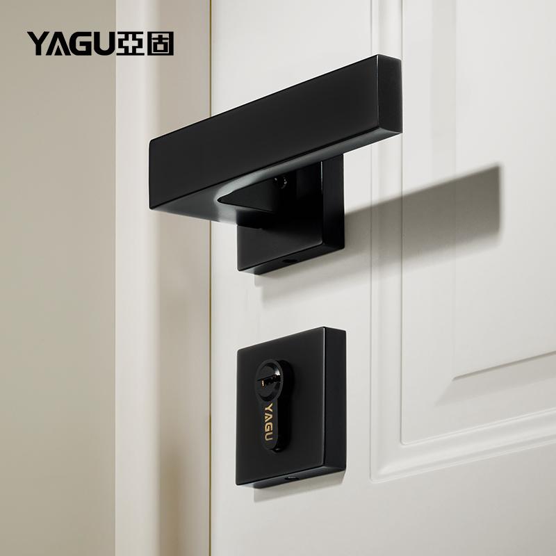 亚固门锁室内卧室房间北欧黑色门锁木门锁三件套分体美式静音门锁
